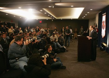 This is Gary Bettman announcing the death of an entire NHL season to a gathered mass of media types in 2004.