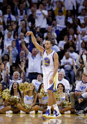 OAKLAND, CA - JANUARY 02:  Stephen Curry #30 of the Golden State Warriors follows through after making a three point basket against the Los Angeles Clippers at Oracle Arena on January 2, 2013 in Oakland, California. NOTE TO USER: User expressly acknowledg