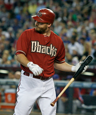 PHOENIX, AZ - SEPTEMBER 30:  Jason Kubel #13 of the Arizona Diamondbacks looks towards the pitchers mound after striking out during a MLB game against the Chicago Cubs at Chase Field on September 30, 2012 in Phoenix, Arizona.  (Photo by Ralph Freso/Getty
