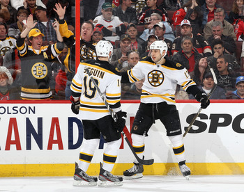 Tyler Seguin and Milan Lucic of the Boston Bruins.