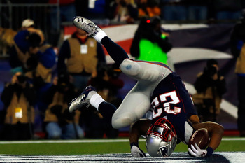 Stevan Ridley toppled into the end zone against the Texans on Sunday.