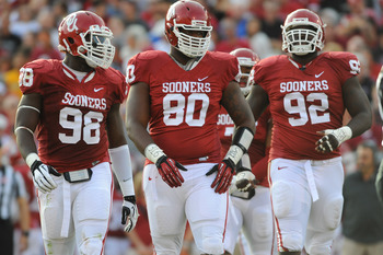 The Sooners' defensive line will likely be centered around Chuka Ndulue (98) and Jordan Phillips (80) in 2013.