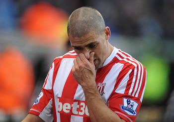 Stoke's Jon Walters scored two own goals and missed a penalty against Chelsea, Saturday.