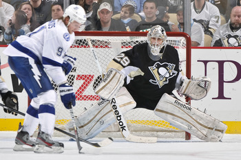 Steven Stamkos lining up a shot on Marc-Andre Fleury.