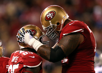 SAN FRANCISCO, CA - SEPTEMBER 16: Vernon Davis #85 is congratulated by Mike Iupati #77 of the San Francisco 49ers after he scored a touchdown against the Detroit Lions at Candlestick Park on September 16, 2012 in San Francisco, California.  (Photo by Ezra