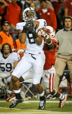 LINCOLN, NE - NOVEMBER 10: Wide receiver Allen Robinson #8 of the Penn State Nittany Lions pulls in a long pass reception over cornerback Andrew Green #11 of the Nebraska Cornhuskers during their game at Memorial Stadium on November 10, 2012 in Lincoln, N