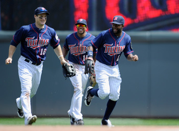 Twins outfielders Josh Willingham, Ben Revere and Denard Span