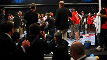 The post-fight brawl instigated by Nick Diaz booted Strikeforce out of its network TV slot. Photo c/o MMAFrenzy.com.