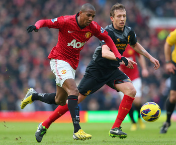 Ashley Young was injured during Manchester United's 2-1 win over Liverpool on Sunday.