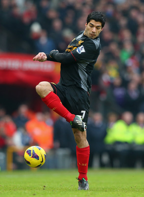 Luis Suarez looked out of sorts in the first half against United