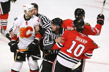 Tempers flared between Jim Vandeermeer and Cam Barker during the 2009 playoffs