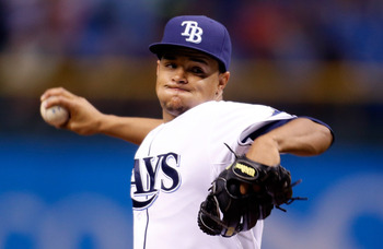 ST PETERSBURG, FL - SEPTEMBER 19:  :  Pitcher Chris Archer #22 of the Tampa Bay Rays pitches against the Boston Red Sox during the game at Tropicana Field on September 19, 2012 in St. Petersburg, Florida.  (Photo by J. Meric/Getty Images)