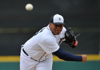 Mar 11, 2012; Lakeland, FL, USA; Detroit Tigers relief pitcher Bruce Rondon (43) pitches against the New York Mets during the game at Joker Marchant Stadium. The Mets beat the Tigers 11-0. Mandatory Credit: Jerome Miron-USA TODAY Sports