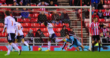 Marvin Sordell celebrates his opener for Bolton at Sunderland.