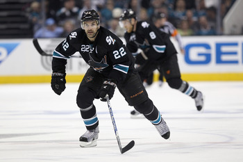 SAN JOSE, CA - APRIL 19:  Dan Boyle #22 of the San Jose Sharks in action against the St. Louis Blues in Game Four of the Western Conference Quarterfinals during the 2012 NHL Stanley Cup Playoffs at HP Pavilion on April 19, 2012 in San Jose, California.  (