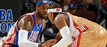 LeBron James and Carmelo Anthony size each other up in the 2008 All-Star Game.