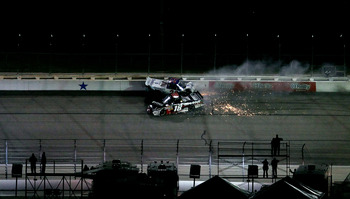 Kyle pile driving Ron Hornaday Jr. into the wall at Texas in Nov. 2011.