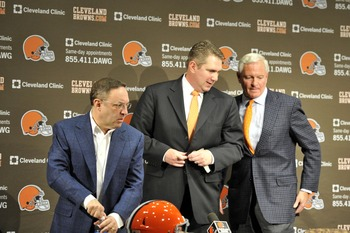 Browns braintrust CEO Joe Banner, head coach Rob Chudzinski and owner Jimmy Haslam III