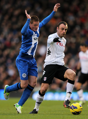 Dimitar Berbatov in action against Wigan Athletic.