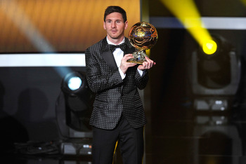 Lionel Messi winning fourth consecutive Ballon D'Or in 2013