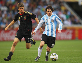 Messi in 2010 World Cup versus Germany