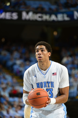 Dec 22, 2012; Chapel Hill, NC, USA; North Carolina Tar Heels forward James Michael McAdoo (43) shoots. The Tar Heels defeated McNeese State 97-63 at the Dean E Smith Center. Mandatory Credit: Bob Donnan-USA TODAY Sports