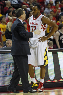 Jan 16, 2013; College Park, MD, USA; Maryland Terrapins head coach Mark Turgeon talks with guard Dez Wells (32) during the game against the North Carolina State Wolfpack at the Comcast Center. Mandatory Credit: Mitch Stringer-USA TODAY Sports