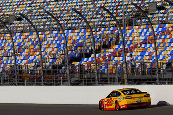 DAYTONA BEACH, FL - JANUARY 10:  Joey Logano drives the #22 Ford during NASCAR Sprint Cup Series Preseason Thunder testing at Daytona International Speedway on January 10, 2013 in Daytona Beach, Florida.  (Photo by Chris Trotman/Getty Images for NASCAR)