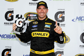 Marcos Ambrose at Michigan last June after becoming the fastest driver in NASCAR history (on non-restrictor plate tracks).