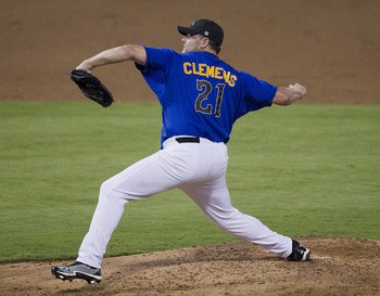 Roger Clemens pitched for the 2012 Sugar Land Skeeters.