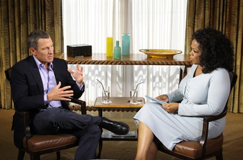 AUSTIN, TX - JANUARY 14:  In this handout photo provided by the Oprah Winfrey Network, Oprah Winfrey (R) speaks with Lance Armstrong during an interview regarding the controversy surrounding his cycling career January 14, 2013 in Austin, Texas.  Oprah Win