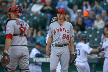 At some point, Jered Weaver will have to take a swing.