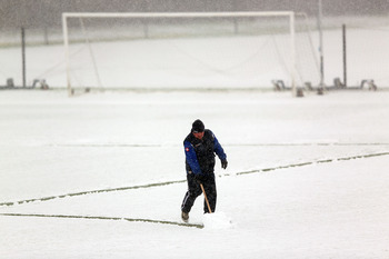 This is the scene at QPR's training ground, as London is covered by significant snowfall.