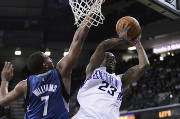 March 18, 2012; Sacramento, CA, USA; Sacramento Kings guard Marcus Thornton (23) shoots the ball against Minnesota Timberwolves forward Derrick Williams (7) during the fourth quarter at Power Balance Pavilion. The Sacramento Kings defeated the Minnesota T