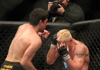 In back-to-back fights, Nick Diaz would have a violent out-of-the-cage altercation with his opponent. Photo c/o Sherdog.com.