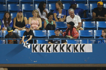TORONTO, CANADA - AUGUST 31: Fans count strikeouts recorded by Brandon Morrow #23 of the Toronto Blue Jays during MLB game action against the Tampa Bay Rays on August 31, 2012 at Rogers Centre in Toronto, Ontario, Canada. (Photo by Tom Szczerbowski/Getty