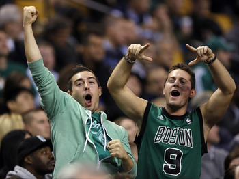 Nov 7, 2012; Boston, Massachusetts, USA; Boston Celtics fans cheer during the fourth quarter against the Washington Wizards at TD Banknorth Garden.  The Boston Celtics won 100-94.  Mandatory Credit: Greg M. Cooper-USA TODAY Sports