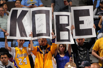DENVER, CO - MAY 04:  Fans display signs in support of Kobe Bryant #24 of the Los Angeles Lakers as the Lakers face the Denver Nuggets in Game Three of the Western Conference Quarterfinals in the 2012 NBA Playoffs at Pepsi Center on May 4, 2012 in Denver,