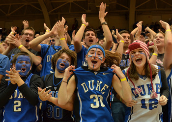 Jan 8, 2013; Durham, NC, USA; Duke Blue Devils fans get excited prior to a game against the Clemson Tigers at Cameron Indoor Stadium.  Mandatory Credit: Rob Kinnan-USA TODAY Sports