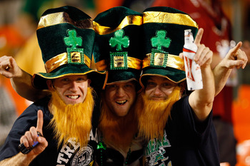 MIAMI GARDENS, FL - JANUARY 07:  Fans of the Notre Dame Fighting Irish looks on prior to the 2013 Discover BCS National Championship game between the Alabama Crimson Tide and the Notre Dame Fighting Irish at Sun Life Stadium on January 7, 2013 in Miami Ga