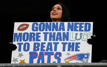 FOXBORO, MA - NOVEMBER 18:  A fan holds a sign in the stands prior to the game between the New England Patriots and the Indianapolis Colts on November 18, 2012 at Gillette Stadium in Foxboro, Massachusetts.  (Photo by Jared Wickerham/Getty Images)