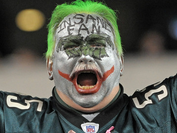 Dec 13, 2012; Philadelphia, PA, USA;  Philadelphia Eagles fan cheers during game against the Cincinnati Bengals at Lincoln Financial Field. The Bengals defeated the Eagles 34-13. Mandatory Credit: Eric Hartline-USA TODAY Sports