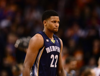 Dec. 12, 2012; Phoenix, AZ, USA: Memphis Grizzlies forward Rudy Gay (22) against the Phoenix Suns at the US Airways Center. The Suns defeated the Grizzlies 82-80. Mandatory Credit: Mark J. Rebilas-USA TODAY Sports