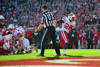 Ball finds the end zone in the Rose Bowl.