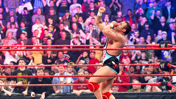 Santino Marella was the final man eliminated in 2011 but here he clearly thinks he won (Image Obtained From WWE.com)
