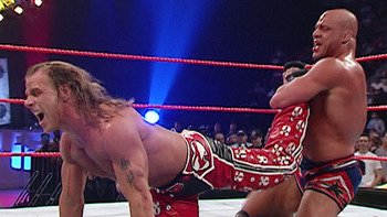 Kurt Angle and Shawn Michaels had a legendary feud that started off in the Royal Rumble match (Image Obtained From WWE.com)