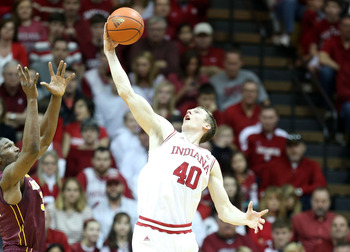 BLOOMINGTON, IN - JANUARY 12:  Cody Zeller #40 of the Indiana Hoosiers grabs a rebound during the Big 10 game against the Minnesota Golden Gophers at Assembly Hall on January 12, 2013 in Bloomington, Indiana.  (Photo by Andy Lyons/Getty Images)