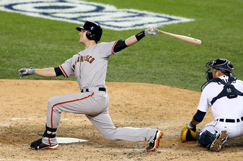 Buster Posey drives the long ball in the World Series.