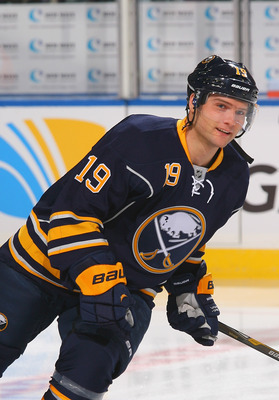 BUFFALO, NY - JANUARY 20:  Cody Hodgson #19 of the Buffalo Sabres skates during the pregame warm-up prior to playing the Philadelphia Flyers at First Niagara Center on January 20, 2013 in Buffalo, New York. Buffalo won 5-2.  (Photo by Rick Stewart/Getty I