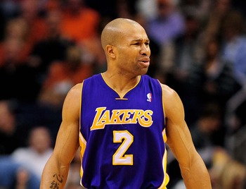 Derek Fisher, then, of the Los Angeles Lakers